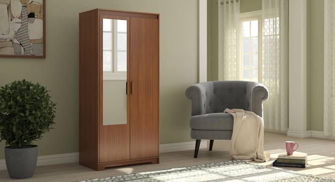 Hilton 2 Door Wardrobe (Without Mirror, Without Drawer Configuration, 6 Feet Height, Cherry Walnut Finish) by Urban Ladder