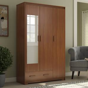 Hilton 3 Door Wardrobe (1 Drawer Configuration, Cherry Walnut Finish) by Urban Ladder