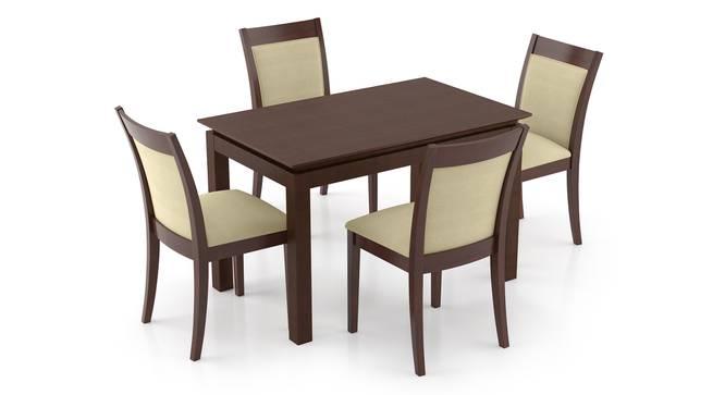 Diner - Dalla 4 Seater Dining Table Set (Beige, Dark Walnut Finish) by Urban Ladder