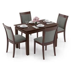 Diner - Dalla 4 Seater Dining Table Set (Grey, Dark Walnut Finish) by Urban Ladder
