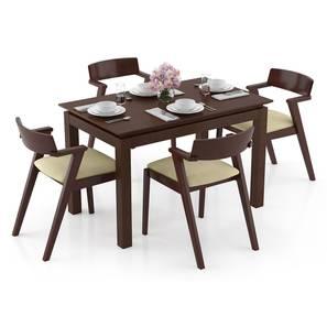 Diner - Thomson 4 Seater Dining Table Set (Beige, Dark Walnut Finish) by Urban Ladder
