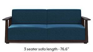 Serra Wooden Sofa - Mahogany Finish (Cobalt Blue)