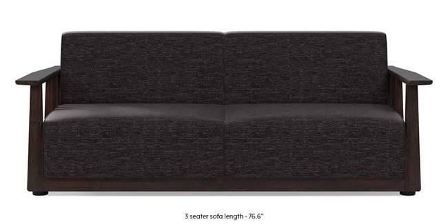 Serra Wooden Sofa - Mahogany Finish (Cosmic Grey) (3-seater Custom Set - Sofas, None Standard Set - Sofas, Cosmic, Fabric Sofa Material, Regular Sofa Size, Regular Sofa Type)