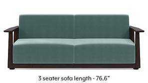 Serra Wooden Sofa - Mahogany Finish (Dusty Turquoise Velvet)