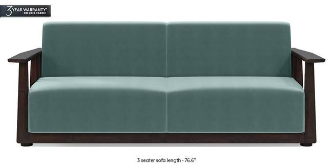 Serra Wooden Sofa - Mahogany Finish (Dusty Turquoise Velvet) (3-seater Custom Set - Sofas, None Standard Set - Sofas, Fabric Sofa Material, Regular Sofa Size, Regular Sofa Type, Dusty Turquoise Velvet)