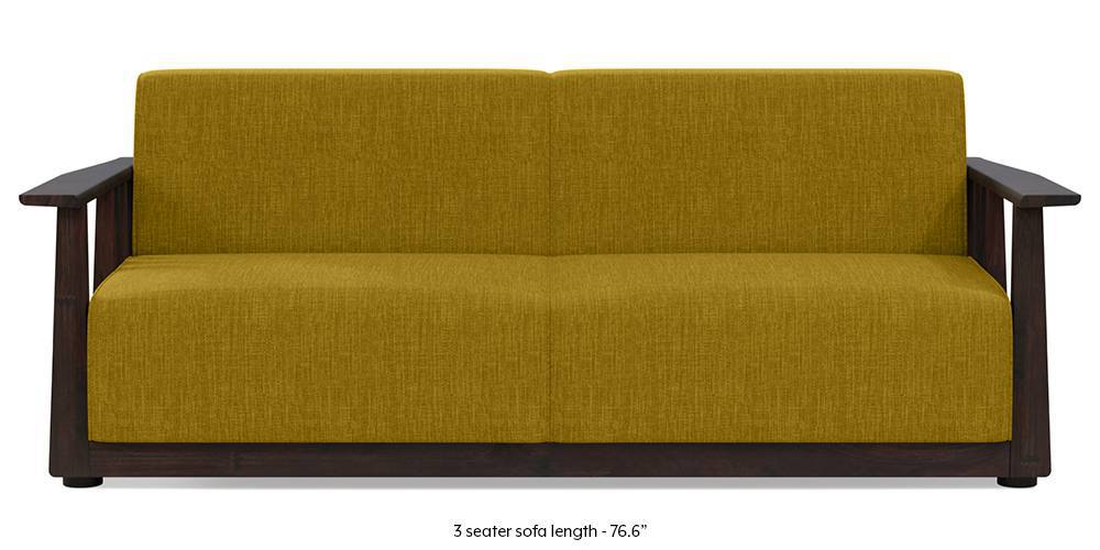 Serra Wooden Sofa - Mahogany Finish (Olive Green) by Urban Ladder