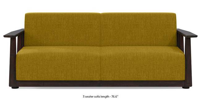 Serra Wooden Sofa - Mahogany Finish (Olive Green) (3-seater Custom Set - Sofas, None Standard Set - Sofas, Olive Green, Fabric Sofa Material, Regular Sofa Size, Regular Sofa Type)