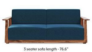 Serra Wooden Sofa - Teak Finish (Cobalt Blue)
