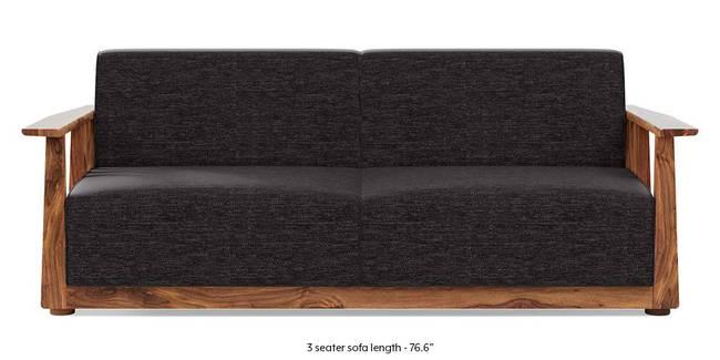 Serra Wooden Sofa - Teak Finish (Cosmic Grey) (3-seater Custom Set - Sofas, None Standard Set - Sofas, Cosmic, Fabric Sofa Material, Regular Sofa Size, Regular Sofa Type)