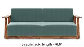 Serra Wooden Sofa - Teak Finish (Dusty Turquoise Velvet)