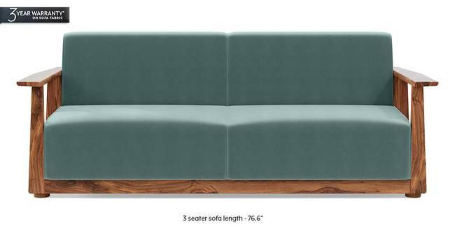Serra Wooden Sofa - Teak Finish (Dusty Turquoise Velvet) (3-seater Custom Set - Sofas, None Standard Set - Sofas, Fabric Sofa Material, Regular Sofa Size, Regular Sofa Type, Dusty Turquoise Velvet)