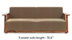 Serra Wooden Sofa - Teak Finish (Fawn Velvet)