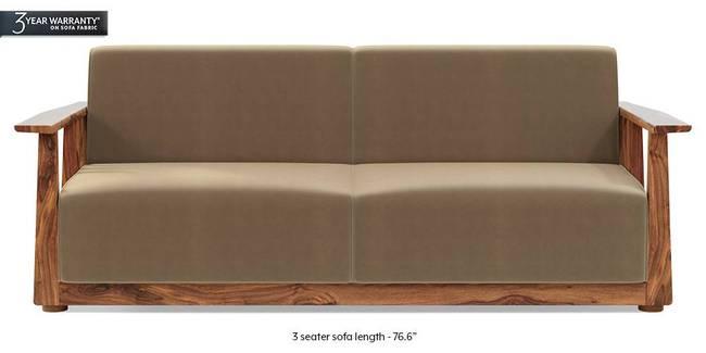 Serra Wooden Sofa - Teak Finish (Fawn Velvet) (3-seater Custom Set - Sofas, None Standard Set - Sofas, Fabric Sofa Material, Regular Sofa Size, Regular Sofa Type, Fawn Velvet)