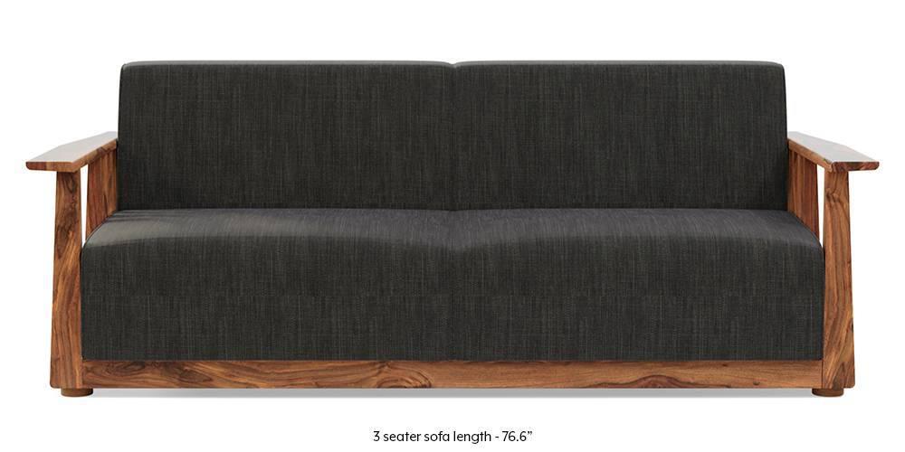 Serra Wooden Sofa - Teak Finish (Graphite Grey) by Urban Ladder