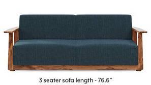 Serra Wooden Sofa - Teak Finish (Indigo Blue)