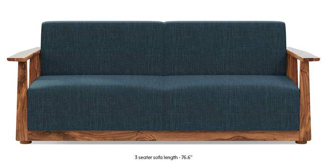 Serra Wooden Sofa - Teak Finish (Indigo Blue) (3-seater Custom Set - Sofas, None Standard Set - Sofas, Indigo Blue, Fabric Sofa Material, Regular Sofa Size, Regular Sofa Type)