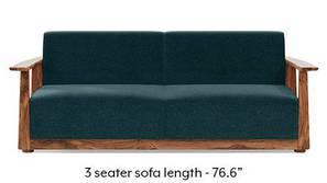 Serra Wooden Sofa - Teak Finish (Malibu Blue)