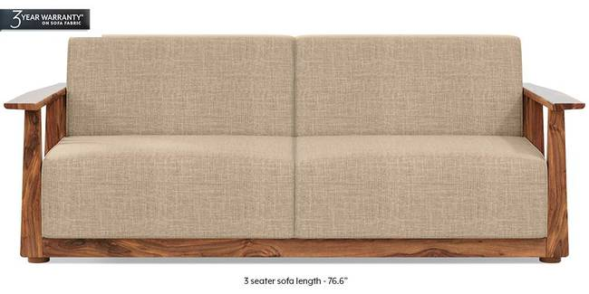 Serra Wooden Sofa - Teak Finish (Sandshell Beige) (3-seater Custom Set - Sofas, None Standard Set - Sofas, Fabric Sofa Material, Regular Sofa Size, Regular Sofa Type, Sandshell Beige)