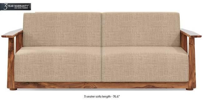 Serra Wooden Sofa - Teak Finish (Sandshell Beige) (3-seater Custom Set - Sofas, None Standard Set - Sofas, Fabric Sofa Material, Regular Sofa Size, Regular Sofa Type, Sandshell Beige)