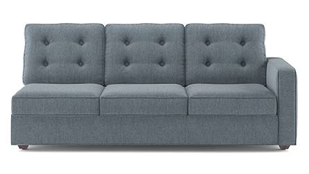 Apollo Sofa Set (Fabric Sofa Material, Regular Sofa Size, Soft Cushion Type, Sectional Sofa Type, Left Aligned 3 Seater Sofa Component, Tufted Back Type, Regular Back Height, Chambray Blue) by Urban Ladder