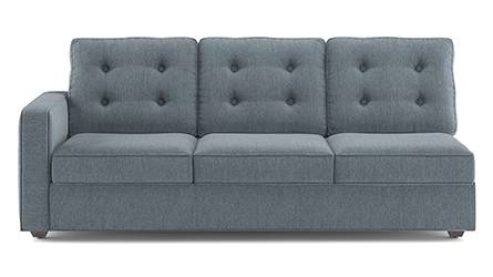 Apollo Sofa Set (Fabric Sofa Material, Regular Sofa Size, Soft Cushion Type, Sectional Sofa Type, Right Aligned 3 Seater Sofa Component, Tufted Back Type, Regular Back Height, Chambray Blue) by Urban Ladder