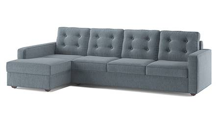 Apollo Sofa Set (Fabric Sofa Material, Regular Sofa Size, Soft Cushion Type, Sectional Sofa Type, Sectional Master Sofa Component, Tufted Back Type, Regular Back Height, Chambray Blue) by Urban Ladder