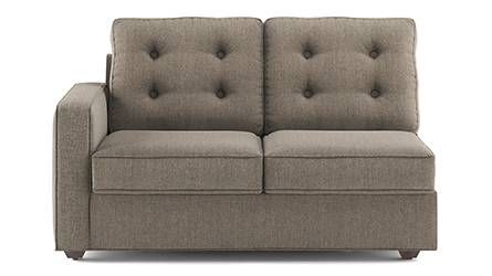 Apollo Sofa Set (Fabric Sofa Material, Regular Sofa Size, Soft Cushion Type, Sectional Sofa Type, Right Aligned 2 Seater Sofa Component, Tufted Back Type, Regular Back Height, Hazel Wood Brown) by Urban Ladder