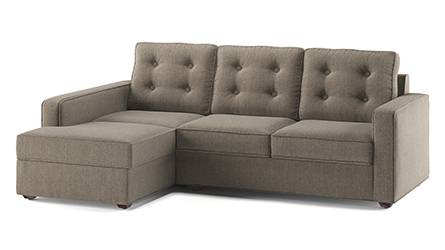 Apollo Sofa Set (Fabric Sofa Material, Regular Sofa Size, Soft Cushion Type, Sectional Sofa Type, Sectional Master Sofa Component, Tufted Back Type, Regular Back Height, Hazel Wood Brown) by Urban Ladder