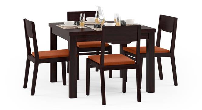 Brighton Square - Kerry 4 Seater Dining Table Set (Mahogany Finish, Burnt Orange) by Urban Ladder