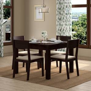 Brighton Square - Kerry 4 Seater Dining Table Set (Mahogany Finish, Wheat Brown) by Urban Ladder