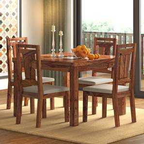 Brighton Square - Martha 4 Seater Dining Table Set (Teak Finish, Wheat Brown) by Urban Ladder
