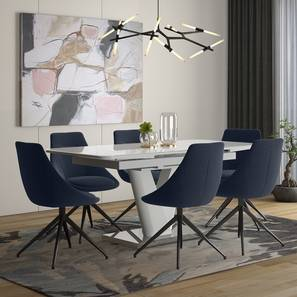 Caribu 4 to 6 Extendable - Doris (Fabric) 6 Seater Dining Table Set (Blue) by Urban Ladder