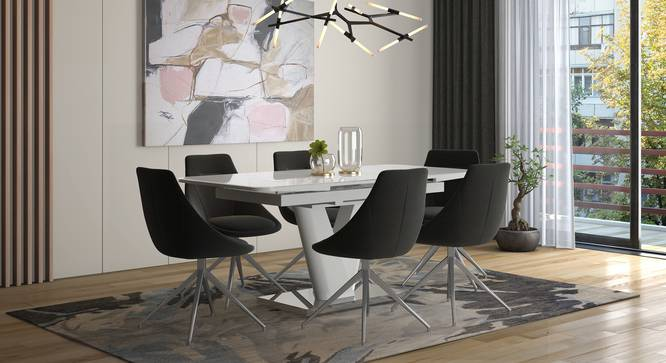 Caribu 4 to 6 Extendable - Doris (Fabric) 6 Seater Dining Table Set (Dark Grey) by Urban Ladder