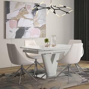 Caribu 4 to 6 Extendable - Doris (Leatherette) 4 Seater Dining Table Set (White) by Urban Ladder