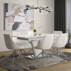 Caribu 4 to 6 Extendable - Doris (Leatherette) 6 Seater Dining Table Set (White) by Urban Ladder