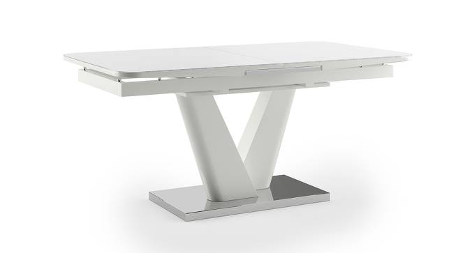 Caribu 4 to 6 Extendable Dining Table (White High Gloss Finish) by Urban Ladder