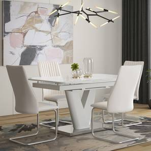 Caribu 4 to 6 Extendable - Ingrid (Leatherette) 4 Seater Dining Table (White) by Urban Ladder