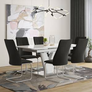 Caribu 4 to 6 Extendable - Ingrid (Fabric) 6 Seater Dining Table Set (Dark Grey) by Urban Ladder