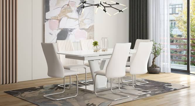 Caribu 4 to 6 Extendable - Ingrid (Leatherette) 6 Seater Dining Table Set (White) by Urban Ladder