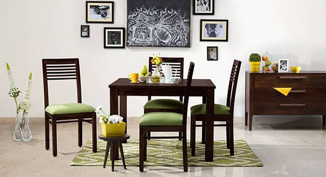 Brighton Square - Zella 4 Seater Dining Table Set (Mahogany Finish, Avocado Green) by Urban Ladder