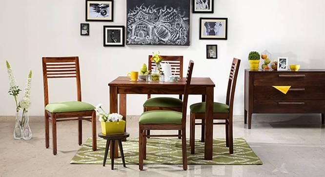 Brighton Square - Zella 4 Seater Dining Table Set (Teak Finish, Avocado Green) by Urban Ladder