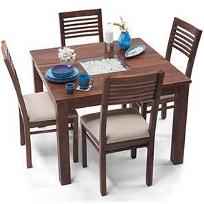 Brighton Square - Zella 4 Seater Dining Table Set (Teak Finish, Wheat Brown) by Urban Ladder