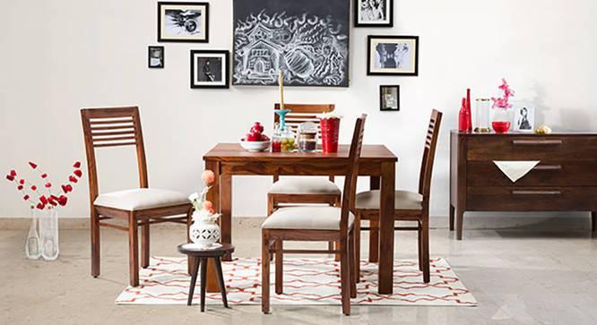 Brighton Square - Zella 4 Seater Dining Table Set (Teak Finish, Wheat Brown) by Urban Ladder