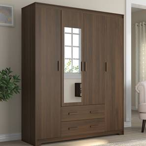 Hilton 4 Door Wardrobe (2 Drawer Configuration, Columbian Walnut Finish) by Urban Ladder