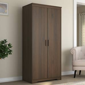 Hilton 2 Door Wardrobe (Without Mirror, Without Drawer Configuration, 6 Feet Height, Columbian Walnut Finish) by Urban Ladder