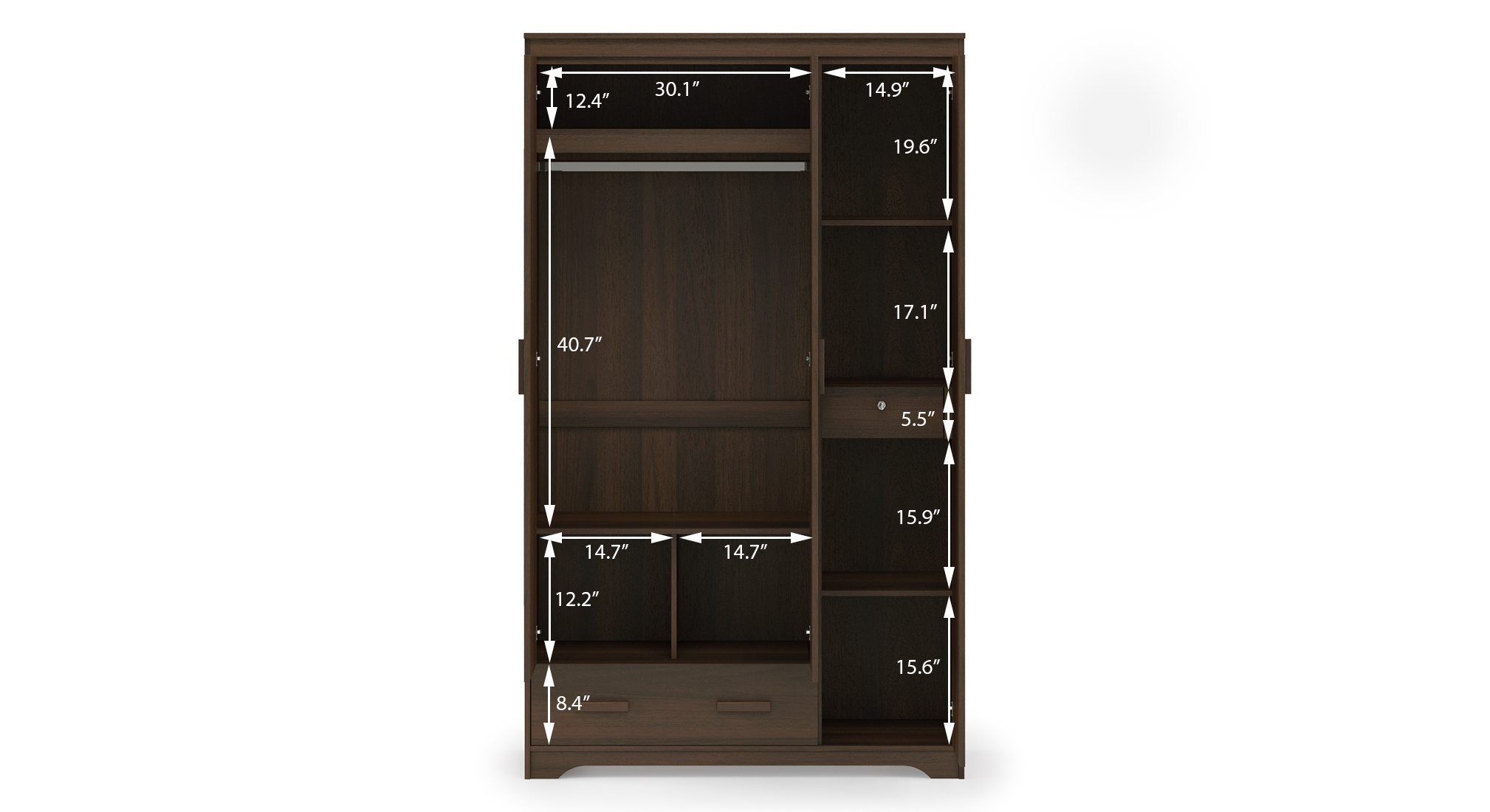 Hilton 3 door with 1 drawer columbian walnut 7