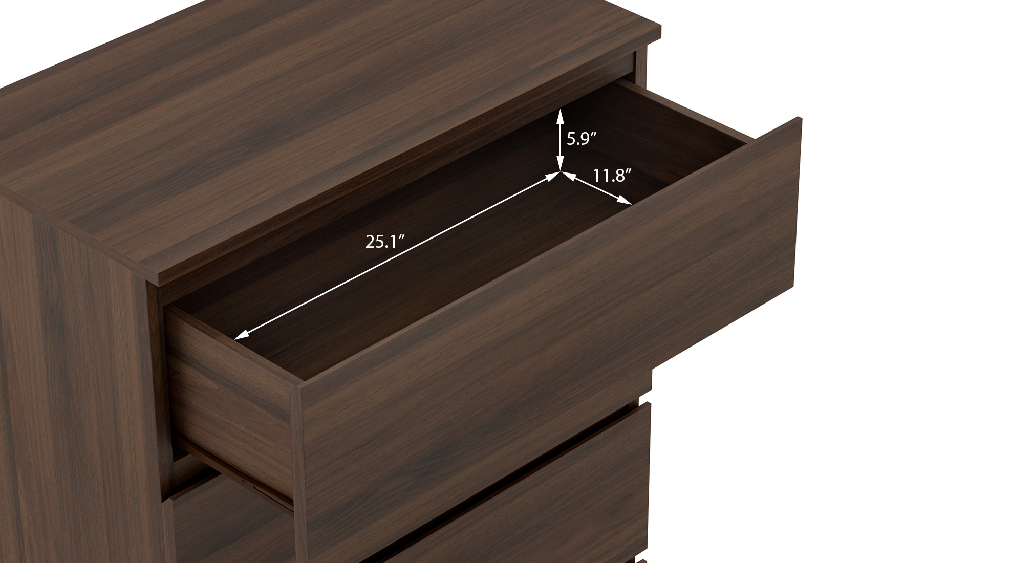 Bocado compact chest of four drawers columbian walnut 6