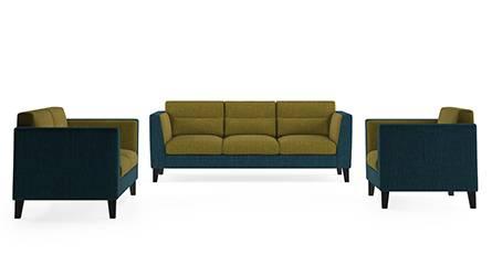 Lewis Sofa (Fabric Sofa Material, Regular Sofa Size, Soft Cushion Type, Regular Sofa Type, Master Sofa Component, Indigo Blue & Olive Green) by Urban Ladder
