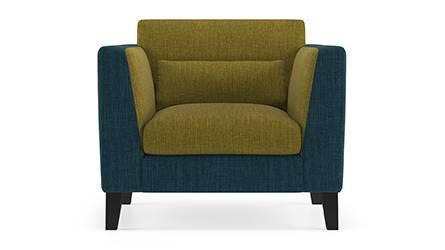 Lewis Sofa (Fabric Sofa Material, Regular Sofa Size, Soft Cushion Type, Regular Sofa Type, Individual 1 Seater Sofa Component, Indigo Blue & Olive Green) by Urban Ladder