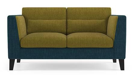 Lewis Sofa (Fabric Sofa Material, Regular Sofa Size, Soft Cushion Type, Regular Sofa Type, Individual 2 Seater Sofa Component, Indigo Blue & Olive Green) by Urban Ladder